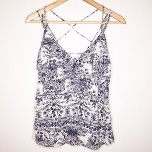 O'Neill blue and white floral strapped tank top